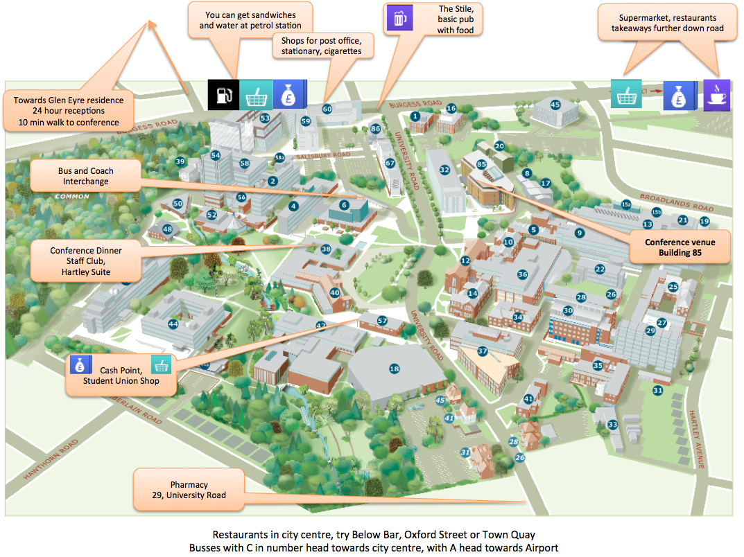 campus map with annotations showing local amenities